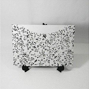 Envelope Pérola Branco com floral preto 03 Mod.EN1500 - 15,5x21cm