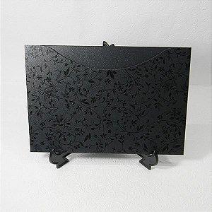 Envelope Perola Preto com floral preto 03 Mod.EN1500 - 15,5x21cm