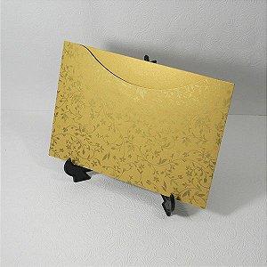Envelope Dourado com estampa floral dourada 03 Mod.EN1500  - 15,5x21cm
