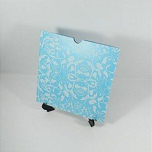 Envelope Azul perolado com floral branco 01 Mod.EN2100 - 20x20cm