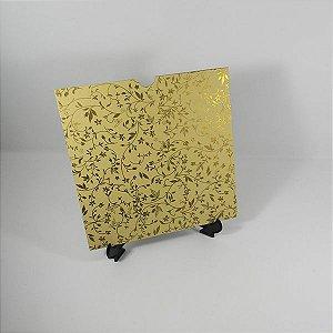 Envelope bege  com estampa floral dourada Mod.EN2100 - 20x20cm