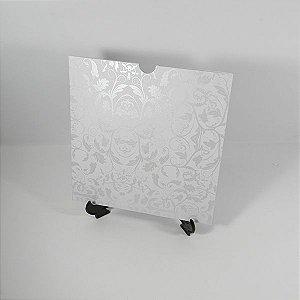 Envelope Branco com com estampa floral perolada 01 Mod.EN2100 - 20x20cm