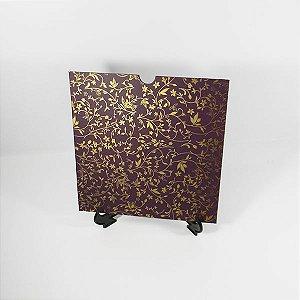 Envelope roxo com floral dourado Mod.EN2100 - 20x20cm