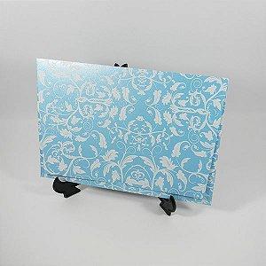 Envelope Perolado Azul  com floral Branco 01 Mod.EN3300 tam:15x21,5cm