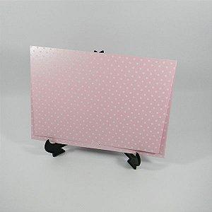 Envelope Perolado Rosa com Poá Branco Mod.EN3300 tam:15x21,5cm