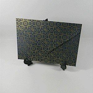 Envelope de bico azul com adamascado dourado - tam:15x21,5 - 20 unids