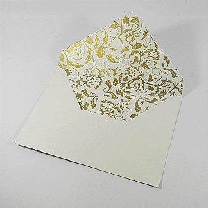 Envelope de bico Perola com floral dourado  01- tam:15x21,5 - 20 unids