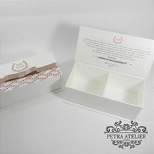 Caixa para convite/lembrança pérola com rosé - tam:18x8x6cm