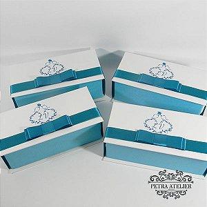 Caixa para convite/lembrança Branca com Azul Tiffany - tam:18x8x6cm