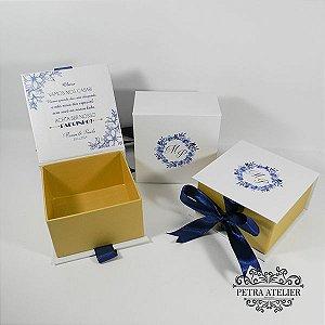 Caixa Padrinhos Perolada - tam:10,5x10,5x6cm