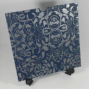 Envelope Luva Azul escuro com estampa floral prata 01 - EN2100  tam:20x20