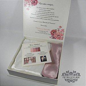 Caixa Padrinhos rosé para gravata + robe