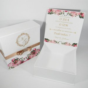 Caixa Padrinhos rosé - tam:22x22x8