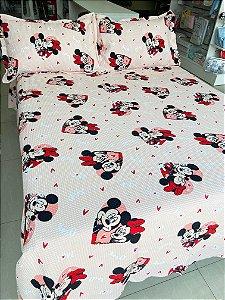 Kit colcha piquet 100% Algodão  mickey mouse e minnie (casal/solteiro) - Dohler