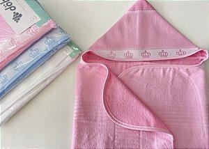Toalha de banho baby Classic com capuz velour para bordar - Dohler