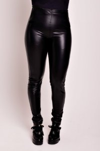 Calça Ziper Frontal Fake Leather