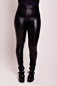 Calça Ziper Frontal Fake Leather