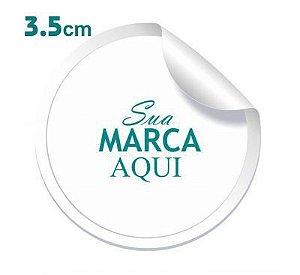 Etiqueta Adesiva 3.5x3.5cm Vinil Branco Personalizado – Mod.: ADE3535