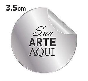 Etiqueta Adesiva 3.5x3.5cm Metálico Prata Personalizado – Mod.: ADEM3535