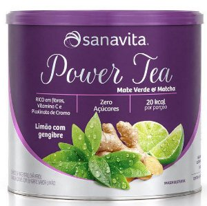 Power Tea Mate Verde & Matchá Sabor Limão com Gengibre 200g
