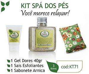 Kit Spá dos Pés: 1 Gel Contusões e Dores, 1 Sabonete Arnica e 1 Sais Esfoliantes