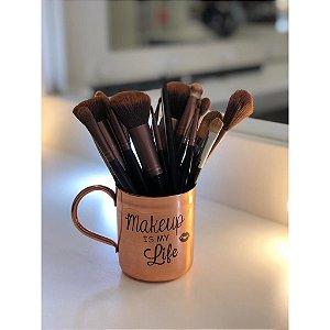 Porta Pincel em Cobre Makeup