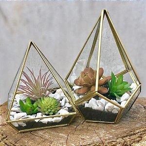 Kit de Terrários Pentagonal G e Pirâmide Dourado