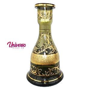 Vaso Base Jarro Sino Grande Bless Fumê 30 cm Estilo Boho Gold