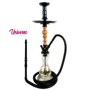 Kit Arguile Gods Of Hookah Mini Gaia Preto C/ Madeira Basic