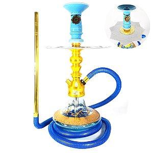Narguile Gods Of Hookah Nyx Completo Dourado Pequeno Base Boho Azul