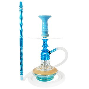 Kit Narguile Pequeno Amazon Hookah Kombat Azul Completo Com base Boho