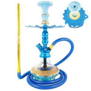 Kit Narguile Pequeno Hookah Zeus Single Azul com 2 Respiros