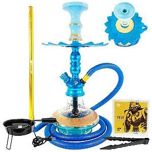 Kit Narguile Pequeno Hookah Zeus Single Azul com 2 Respiros Com Acessórios
