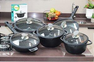 Conjunto FRIGIGOLD linha Premium Fosco – Panelas 20, 24 e 28cm + Frigideiras Wok 24cm e 28cm