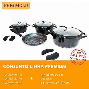 Conjunto FRIGIGOLD linha Premium – Panelas 20, 24 e 28cm + frigideira