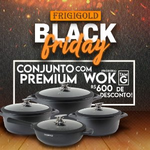 Black Friday Frigigold - Conjunto FRIGIGOLD linha Premium Fosco – Panelas 20, 24 e 28cm + Frigideira Wok 28