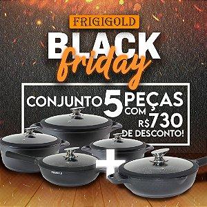 Black Friday Frigigold - Conjunto FRIGIGOLD linha Premium Fosco – Panelas 20, 24 e 28cm + Frigideiras Wok 24cm e 28cm