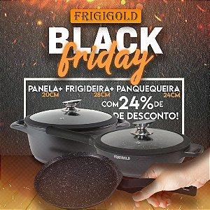Black Friday Frigigold - Conjunto 3 peças FRIGIGOLD linha Premium Fosco – Panela 20cm + Wok 28cm + Panquequeira