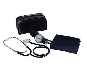 Esfignomanômetro em Nylon Fecho Velcro Com Esteto Com Manômetro Com Selo Premium - Glicomed