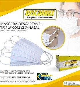 Máscara Cirúrgica Tripla com Elástico (Cx c/ 50un) - Descarbox