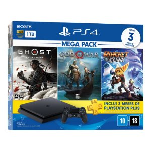 Console PlayStation 4 Hits Bundle Hits Mega Pack 18 - 1TB - 3 Jogos - 3 meses PSN Plus