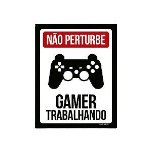 Placa De Parede - Não Pertube Gamer Trabalhando Ps