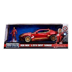Colecionável Marvel Avengers - Iron Man e Chevy Camaro 2016 - Metal Die Cast