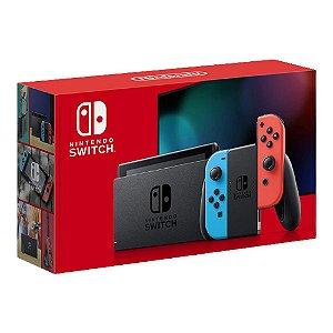 Console Nintendo Switch Com Joy-Con  Azul e Vermelho Neon