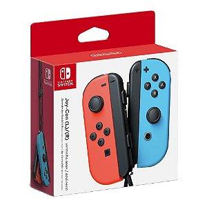 Controle Nintendo Switch Joy-Con Azul e Vermelho Neon