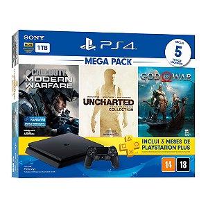 Console PlayStation 4 Hits Bundle Hits Mega Pack 7 - 1TB -  5 Jogos - 3 meses PSN Plus