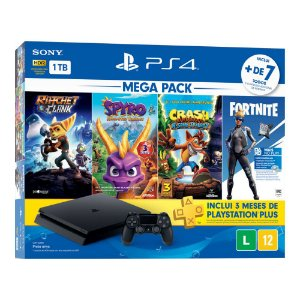 Console PlayStation 4 Hits Bundle Mega Pack Family  - 1TB - 7 Jogos - 3 meses PSN Plus