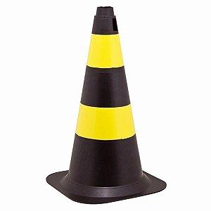 Cone pvc  50cm preto/amarelo
