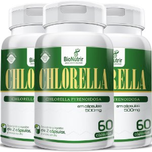 Kit 3 Chlorela 500mg - 180 Cápsulas Bionutrir