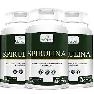 3 Spirulina em Cápsulas BioNutrir - 180 Cáps total (500mg)